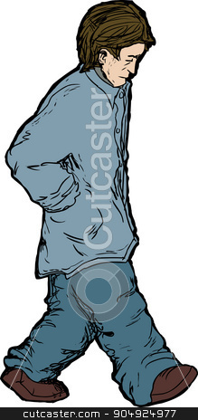 Sad Man Walking stock vector clipart, Sad Caucasian man with hands in pockets walking alone by Eric Basir