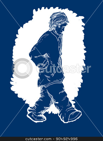 Depressed Blue Man stock vector clipart, Blue color illustration of a depressed adult male walking alone by Eric Basir