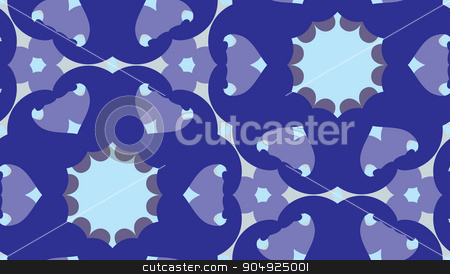 Geometric Blue Kaleidoscope Pattern stock vector clipart, Seamless pattern of blue geometric kaleidoscope shapes by Eric Basir