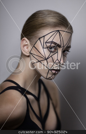Beauty lines architecture stock photo, Beauty portrait of a girl with lines on her face. by Viacheslav