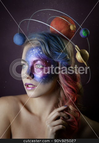 The galaxy girl stock photo, Beauty portrait of the girl with galaxy art make up by Viacheslav