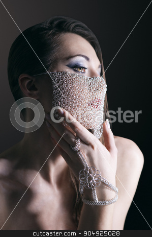 Fashion warrior queen stock photo, Beauty portrait of a girl with a chain veil by Viacheslav