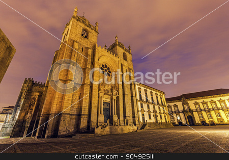 Se Cathedral and Bishop's Palace in Porto stock photo, Se Cathedral and Bishop's Palace in Porto. Porto, Norte, Portugal.  by Henryk Sadura