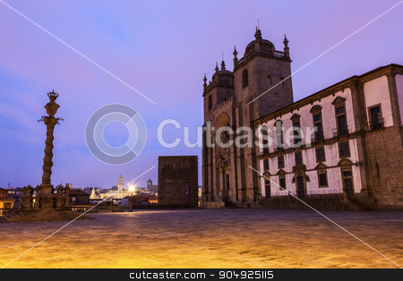 Se Cathedral in Porto stock photo, Se Cathedral (Porto Cathedral) in Porto. Porto, Norte, Portugal. City Hall in the background. by Henryk Sadura