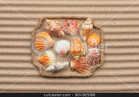 Beautiful frame made of rope and sea shells on the sand with tex stock photo, Beautiful frame made of rope and sea shells on the sand with text, as background by alekleks