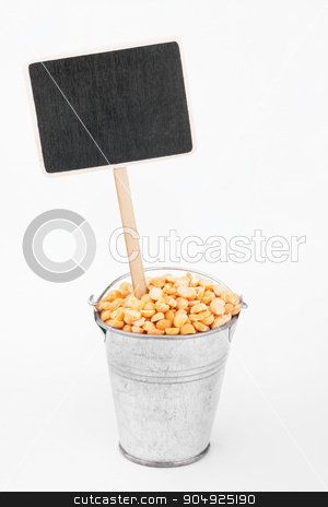 Pointer, price in bucket of  peas grains stock photo, Pointer, price in bucket of  peas grains, on a white background by alekleks