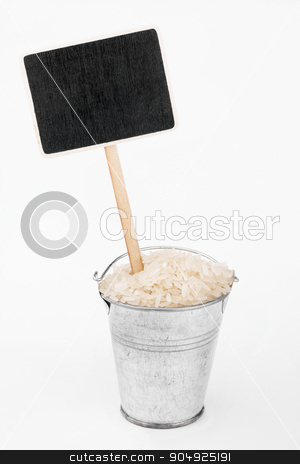 Pointer, price in bucket of  rice grains stock photo, Pointer, price in bucket of  rice grains, on a white background by alekleks