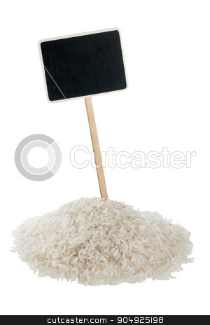Heap of  rice  with a pointer for your text stock photo, Heap of  rice  with a pointer for your text,  isolated on white background by alekleks