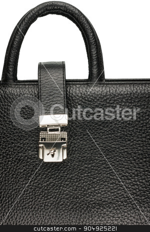 Classic mens briefcase with a lock and handle stock photo, Classic mens briefcase with a lock and handle, close-up by alekleks