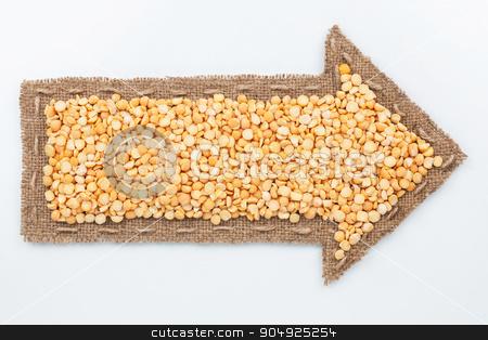 Pointer with peas grains stock photo, Pointer with peas grains, on white background  by alekleks