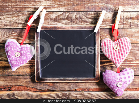 hearts stock photo, color hearts from textile on wooden background by tycoon