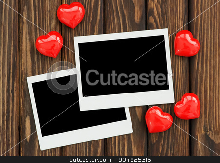 photo and red hearts stock photo, photo and red hearts on the wooden table by tycoon
