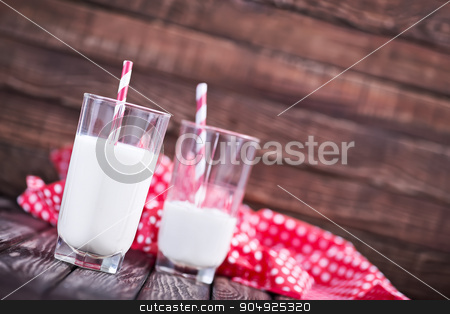 fresh milk in glasses stock photo, fresh milk in glasses on the wooden table by tycoon