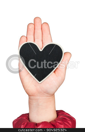 Heart in a childrens hand with space for your text stock photo, Heart in a childrens hand with space for your text, isolated on white background by alekleks