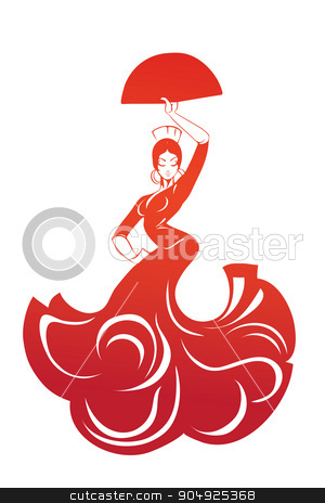 flamenco woman in expressive pose flat silhouette stock vector clipart, flat silhouette drawing of dlamenco woman in expressive pose by Jera