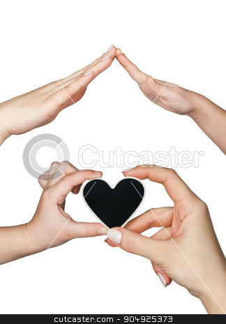 Womens and childrens hand keep a heart stock photo, Womens and childrens hand keep a heart, isolated on a white background by alekleks