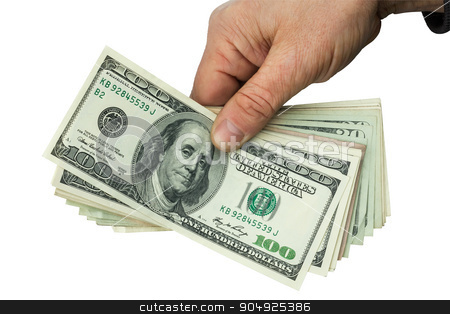 Mans hand keeps money stock photo, Mans hand keeps money, isolated on white background by alekleks