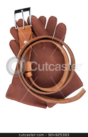 Belt and gloves stock photo, Belt and gloves, isolated on white background by alekleks
