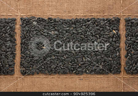 Sunflower seeds on sackcloth, with place for your text stock photo, Sunflower seeds on sackcloth, with place for your text, drawing by alekleks