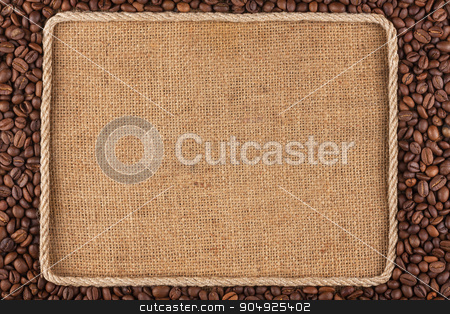 Frame made of rope with coffee beans on sackcloth stock photo, Frame made of rope with coffee beans on sackcloth, with place for your creativity by alekleks