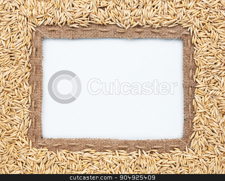 Frame of burlap and  oats  beans stock photo, Frame of burlap and  oats  beans, lying on a white background by alekleks