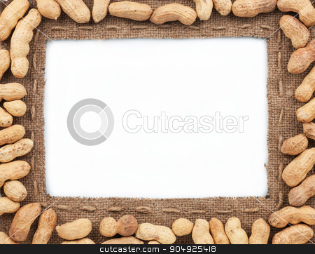 Frame made of burlap with peanut stock photo, Frame made of burlap with peanut, on a white background by alekleks