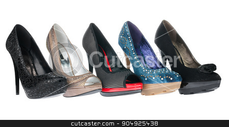 Five pair shoes of high heels stock photo, Five pair shoes of high heels, isolated on white background by alekleks