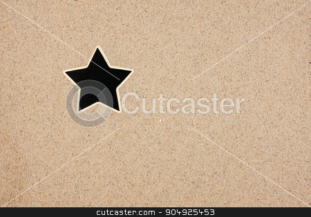 Pointer, ads board in the form star in the sand stock photo, Pointer, ads board in the form star in the sand, can be used as background by alekleks