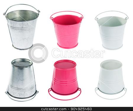 Galvanized, red and white bucket  stock photo, Galvanized, red and white bucket isolated on a white background by alekleks