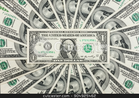 One dollar lies against the background of hundred-dollar bills stock photo, One dollar lies against the background of hundred-dollar bills, can be used as background by alekleks