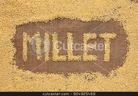 Inscription millet with a millet  on burlap stock photo, Inscription millet with a millet  on burlap can be used as background by alekleks