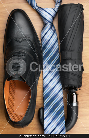 Classic men's shoes, tie, umbrella on the wooden floor stock photo, Classic men's shoes, tie, umbrella on the wooden floor, can be used as background by alekleks