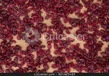 Background cranberries lying on sackcloth stock photo, Background cranberries lying on sackcloth, texture by alekleks