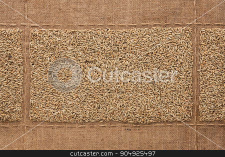 Rye grains on sackcloth, with place for your text stock photo, Rye grains on sackcloth, with place for your text, drawing by alekleks