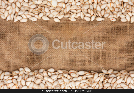 Pumpkin seeds were lying on sackcloth stock photo, Pumpkin seeds were lying on sackcloth, with space for text by alekleks