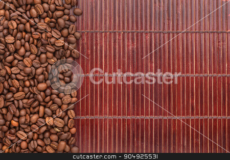 Coffee beans lying on a bamboo mat stock photo, Coffee beans lying on a bamboo mat, background, menu by alekleks