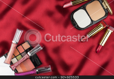 Beautiful picture of cosmetic  on red satin stock photo, Beautiful picture of cosmetic  on red satin, with space for your text by alekleks