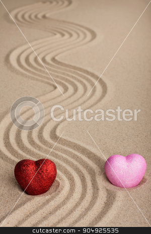 Two conceptual heart in the sand stock photo, Two conceptual heart in the sand, can be used as background by alekleks
