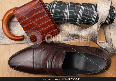 Classic men's shoes, tie, wallet, umbrella on the wooden floor stock photo, Classic men's shoes, tie, wallet, umbrella on the wooden floor, can be used as background by alekleks