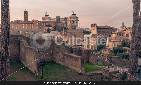 Rome, Italy: Roman Forum and Old Town of the city stock photo, Rome, Italy: The Roman Forum, Latin: Forum Romanum, Italian: Foro Romano, in the sunrise. Vittoriano, Victor Emmanuel II Monument  and Old Town of the city by krivinis