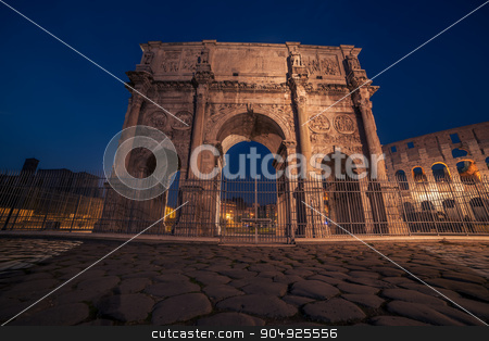 Rome, Italy: Arch of Constantine in the sunset stock photo, Rome, Italy: Arch of Constantine in the sunset. Colosseum, Flavian Amphitheatre in the background by krivinis