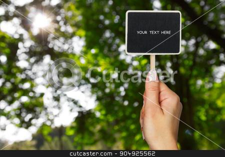 Female hand keeps  sign stock photo, Female hand keeps  sign on a background sun and foliage  by alekleks