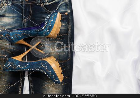 Glamorous women's fashion, jeans, shoes in rhinestones stock photo, Glamorous women's fashion, jeans, shoes in rhinestones, lying on white silk by alekleks