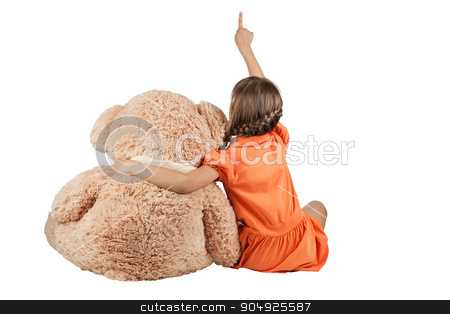 Girl hugging bears and shows thumb up stock photo, Girl hugging bears and shows thumb up, isolated on white background by alekleks