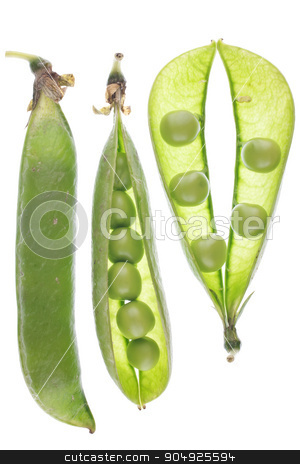Natural ripe green peas stock photo, Set of ripe green pea in the pod isolated on white background  by alekleks