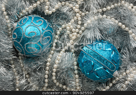 Two blue Christmas balls  stock photo, Two blue Christmas balls , can be used as background by alekleks