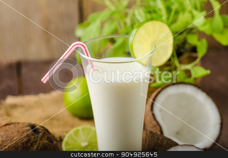 Coconut milk drink stock photo, Coconut milk, delicious drink full of nutrition and vitamins by Peteer