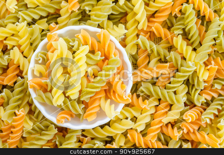 Three Colors Rotini Pasta. stock photo, Three Colors Rotini Pasta in white bowl. by Miss. PENCHAN  PUMILA
