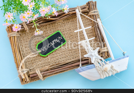 Vocation wording tag. stock photo, Vocation wording tag with decoration on blue background. by Miss. PENCHAN  PUMILA
