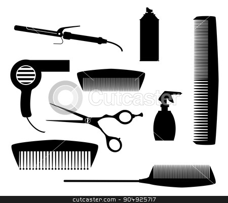 Salon Tools stock vector clipart, A collection of salon tools in silhouette isolated over a white background by Kotto